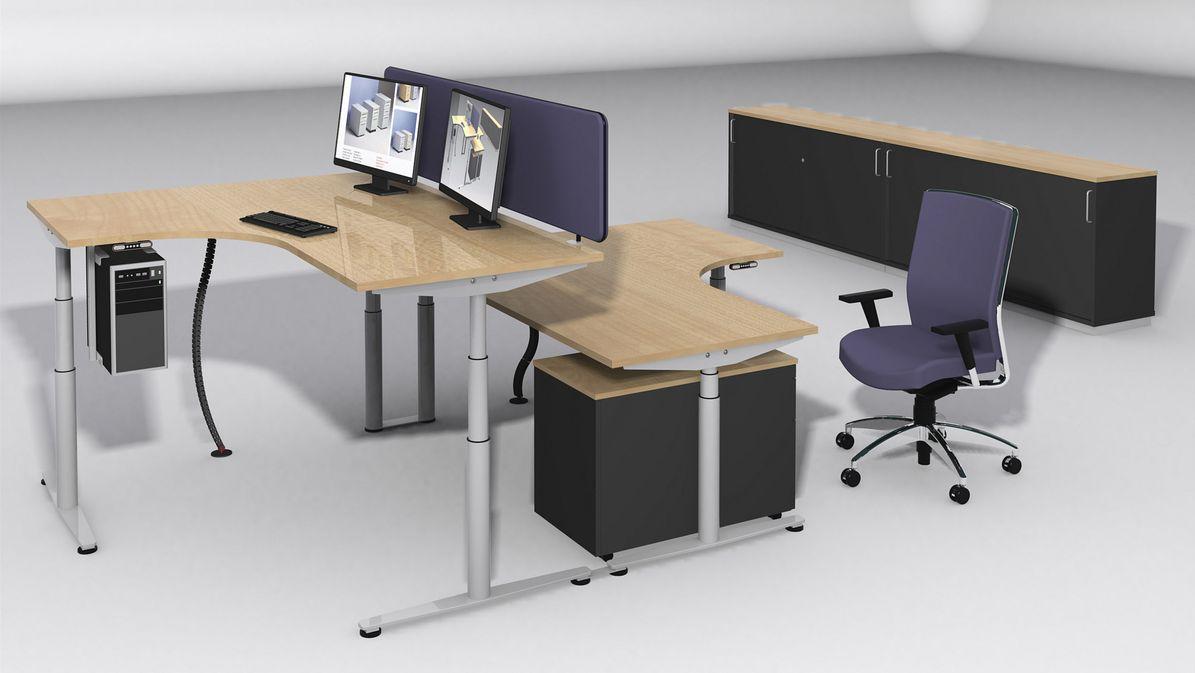 Unserer Arbeitsplatzprogramme ... vom Besprechungstisch bis zum elektrisch höhenverstellbaren Sitz-Steh-Arbeitsplatz